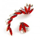 Twist ~ Asymmetric Earrings for Pierced Ears ~ Red Crystal (R)