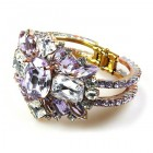 Barocco Clamper Bracelet ~ Violet with Clear Crystal