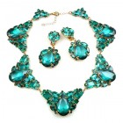 Iris Necklace Set ~ Silver Emerald Green