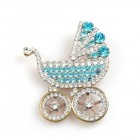 Antique Baby Stroller Brooch ~ Aqua