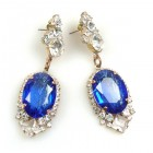 Ovals Earrings for Pierced Ears ~ Crystal Silver Blue