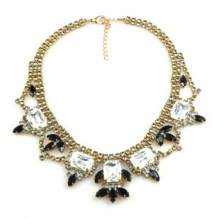 Countess Necklace ~ Clear Crystal with Black