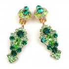 Andromeda Earrings with Clips ~ Green Emerald