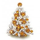 Xmas Tree Brooch #10 ~ Clear Topaz