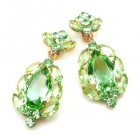 Sonatine Earrrings with Clips ~ Peridot Green