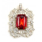 Octagonal Brooch or Pendant ~ Clear Crystal with Red