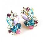 Empress Earrings Clips ~ Violet Aqua Tones