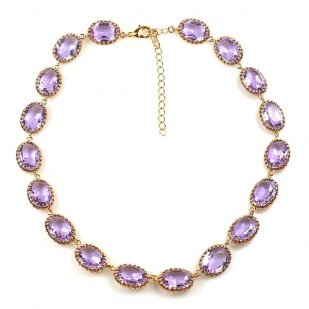 One Strand Necklace Filigree Settings ~ Violet ~ Gold Plated