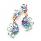 Power of Flowers ~ Earrings with Clips ~ Blue Aqua Fuchsia