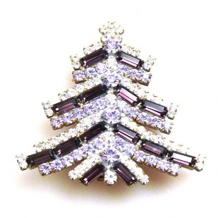 Xmas Tree Brooch Baguettes ~ Purple Violet
