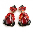 Iris Earrings Clips-on ~ Black Red