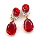 Effervescence Earrings with Clips ~ Red
