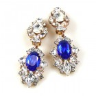 Crystal Gate Clips-on Earrings ~ Silver Blue