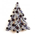 Navette Xmas Tree Brooch ~ Purple Clear