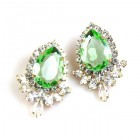 Paris Charm Pierced Earrings ~ Crystal with Green