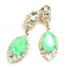 Tears Pierced Earrings ~ Crystal with Opaque Mint Green