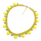 Raindrops ~ Necklace Two Rows ~ Neon Yellow