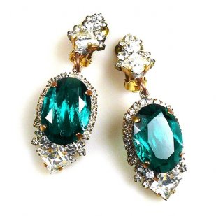 Ovals Clips-on Earrings ~ Crystal Silver Emerald