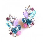 Empress Earrings Pierced ~ Violet Aqua Tones