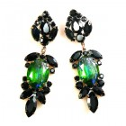 Iris Grande Pierced Earrings ~ Silver Green Black