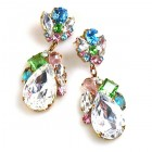 Fountain Earrings for Pierced Ears ~ Pastel Tones with Crystal