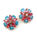 Crystal Blossom Earrings Pierced ~ Fuchsia Aqua