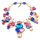 Swirling Colors ~ Capri Blue Pink Fuchsia Huge Necklace