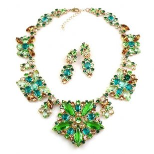 Fantasme Necklace Set with Earrings ~ Green with Dark Topaz
