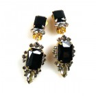 Allisa Earrings Clips ~ Black with Smoke