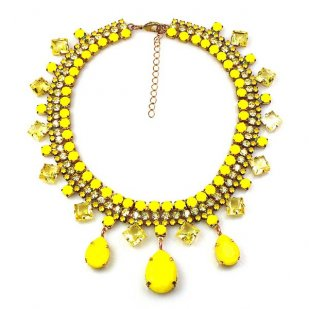 Raindrops Necklace ~ Opaque Yellow and Jonquil