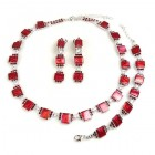 Victoria Set ~ Red ~ Rhodium Plated