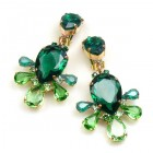 Xara Earrings Clips ~ Green Emerald