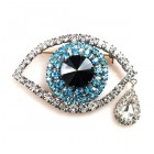 Turquoise Eye ~ Wonderful Rhinestone Brooch