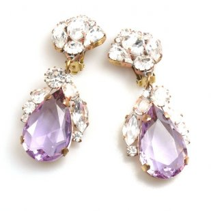 Fountain Earrings for Pierced Ears ~ Clear with Violet