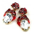 Fiore Clips Earrings ~ Clear Crystal with Ruby Red