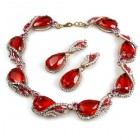 Swan Wings Set with Earrings ~ Red with Clear Crystal