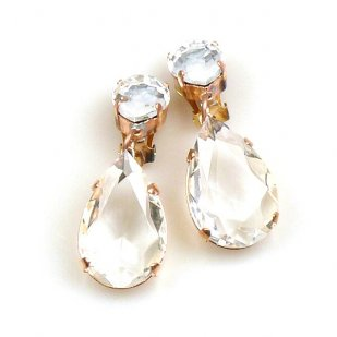 Pears Earrings Clips ~ Clear Crystal