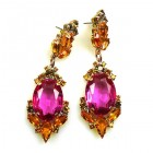 Mythique Earrings for Pierced Ears ~ Topaz with Fuchsia