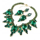 Taj Mahal Necklace Set with Earrings ~ Emerald