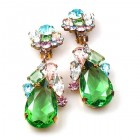 Fountain Clips-on Earrings ~ Pastel Tones with Green
