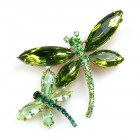 Two Dragonflies Pin ~ Olive Green