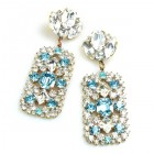 Zara Pierced Earrings ~ Clear Crystal with Aqua