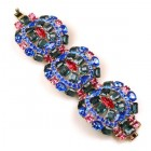 Enigma Chunky Bangle Bracelet ~ Blue with Fuchsia