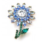 Flower Pin Medium ~ Sapphire Blue