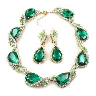 Swan Wings Set with Earrings ~ Emerald with Clear Crystal