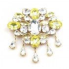 Marquis Brooch ~ Clear Crystal Yellow
