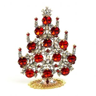 Rivoli Xmas Stand-up Tree 9cm ~ Red Clear