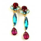 Marina Clips-on Earrings ~ Red Aqua Fuchsia