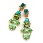 Xanthe Earrings with Clips ~ Green Olive Emerald
