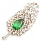 Crystal Leaf Brooch ~ Green Stone